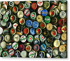 Pile Of Beer Bottle Caps . 9 To 12 Proportion Acrylic Print by Wingsdomain Art and Photography
