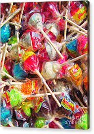 Pile Of Lollipops - Painterly Acrylic Print by Wingsdomain Art and Photography
