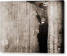 Piles Of German Money In A Berlin Bank Acrylic Print by Everett
