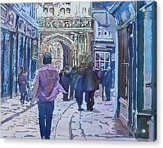 Pilgrims At The Gate Acrylic Print by Jenny Armitage