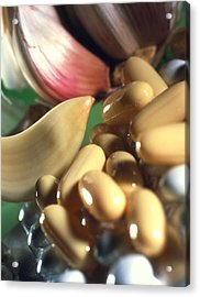 Pills And Capsules Containing Garlic Oil Acrylic Print by Steve Horrell