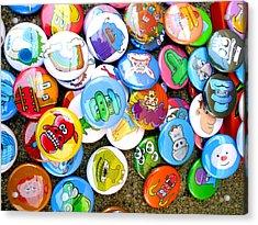 Pinback Buttons Acrylic Print by Jera Sky