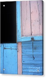 Acrylic Print featuring the photograph Pink And Blue Shutters Barahona Dominican Republic by John  Mitchell