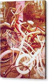 Vintage Girls Bikes Acrylic Print by Toni Hopper
