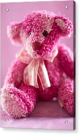 Acrylic Print featuring the photograph Pink Bear Sat Alone by Ethiriel  Photography