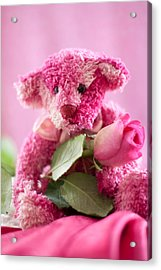 Acrylic Print featuring the photograph Pink Bear With Rose by Ethiriel  Photography