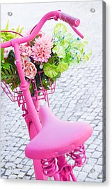 Pink Bicycle Acrylic Print by Carlos Caetano