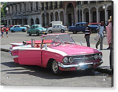 Pink Chevy In Havana Acrylic Print