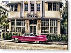 Pink Cadillac Acrylic Print by Vicki DeVico