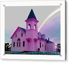 Pink Church With Rainbow Acrylic Print by David Klaboe