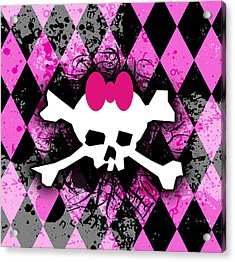 Pink Diamond Skull Acrylic Print by Roseanne Jones
