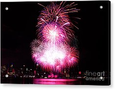 Pink Fireworks At Nyc Acrylic Print by Archana Doddi