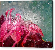 Acrylic Print featuring the painting Pink Flamingoes by Ana Maria Edulescu