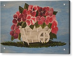 Acrylic Print featuring the painting Pink Flowers In A Wagon Basket by Christy Saunders Church