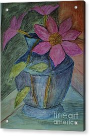 Acrylic Print featuring the drawing Pink Flowers In Blue Vase by Christy Saunders Church