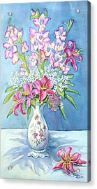 Pink Lillies In A Vase Acrylic Print