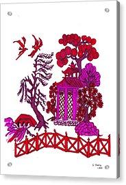 Pink Pagoda Acrylic Print by Gail Daley