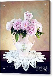 Acrylic Print featuring the photograph Pink Peonies by Cheryl Davis