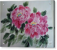 Acrylic Print featuring the painting Pink Peony by Dongling Sun