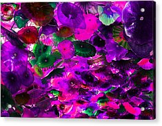 Pink Purple And Green Glass Flowers Acrylic Print