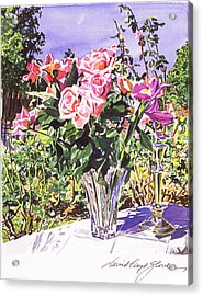 Pink Roses In Crystal Vase Acrylic Print by David Lloyd Glover