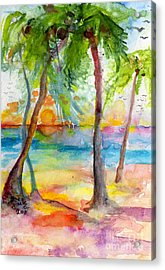 Pink Sands And Palms Island Dreams Watercolor Acrylic Print by Ginette Callaway