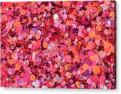Pink Sequins Of Various Shapes And Sizes Acrylic Print by Andrew Paterson