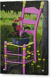 Pink Summer Chair Acrylic Print by Fran Atchison