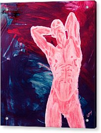 Pink Transgender Male Nude Figure On Blue Green Red Chaotic Background Of Transformation And Change Acrylic Print by MendyZ M Zimmerman
