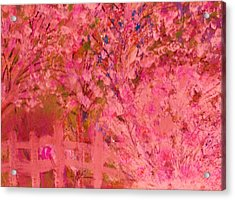 Pink Tree And Fence Acrylic Print by Anne-Elizabeth Whiteway