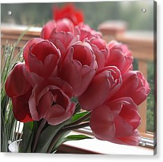 Acrylic Print featuring the photograph Pink Tulips In Vase by Katie Wing Vigil