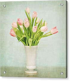 Pink Tulips Acrylic Print by Mary Hershberger