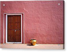 Pink Wall And The Door Acrylic Print by Saptak Ganguly