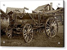 Pioneer Freight Wagon - Nevada City Ghost Town Acrylic Print by Daniel Hagerman