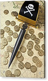 Pirate Sword And Gold Coins On Old Map Acrylic Print by Garry Gay