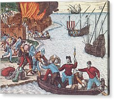 Pirates Burn Havana, 1555 Acrylic Print by Photo Researchers