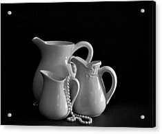 Pitchers By The Window In Black And White Acrylic Print by Sherry Hallemeier