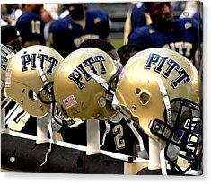 Pitt Helmets Awaiting Action Acrylic Print by Will Babin