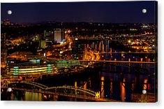 Pittsburgh From Across The Monongahela River Acrylic Print by David Hahn
