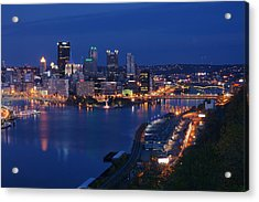 Acrylic Print featuring the photograph Pittsburgh In Blue by Michelle Joseph-Long
