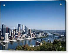 Pittsburgh Skyline And Allegheny River Acrylic Print by Everett