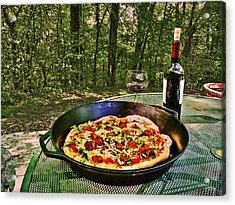 Acrylic Print featuring the photograph Pizza And Vino by William Fields