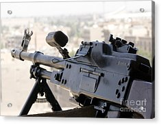 Pkm 7.62 Machine Gun Nest On Top Acrylic Print by Terry Moore