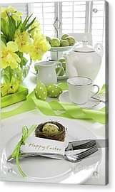 Place Setting With Card For Easter Brunch Acrylic Print by Sandra Cunningham