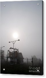Platform At Petrocor In The Fog Acrylic Print by Gary Chapple