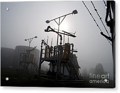 Platforms And Tanks At Petrocor In The Fog Acrylic Print by Gary Chapple