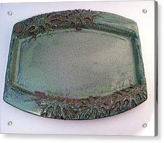 Platter With Pin Oak Leaves Acrylic Print by Carolyn Coffey Wallace