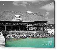 Acrylic Print featuring the photograph Playa Del Carmen Mexico Maritime Terminal Color Splash Black And White by Shawn O'Brien