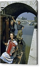 Playing And Listening To An Accordion Acrylic Print by Justin Locke