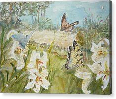 Playing In The Garden Acrylic Print by Dorothy Herron